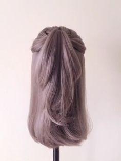Hairstyle Tutorial 1248 - Hair Styles For School Easy Hairstyles For Long Hair, Braided Hairstyles, Simple Elegant Hairstyles, Everyday Hairstyles, Wedding Hairstyles, Medium Hair Styles, Short Hair Styles, Underlights Hair, Hair Upstyles