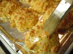 Cheddar Bay Biscuits ~ Red Lobster copy-cat recipe. This recipe is a bit different than the other I have used in the past. I think it's more authentic. Served the biscuits with the cream of crab soup. Yummy!