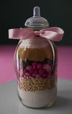 Baby shower favor - cookie mix bottle using Bakerella idea http://www.bakerella.com/mix-things-up/ #favors #parties #baby #shower #cookies