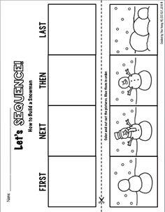 Sequencing Activities, Preschool Learning Activities, Preschool At Home, Preschool Worksheets, Classroom Activities, Preschool Activities, Winter Activities, Kindergarten, Christmas Worksheets