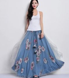 Blue Tulle Floral Print Full Pleated Skirt Beach A-line Dress Maxi Bohemian Boho Long Wedding Bridesmaid Party Holiday Day Prom Ball Gown on Etsy, $86.10