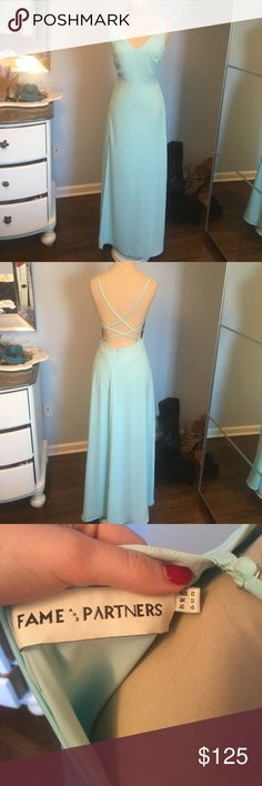 Light teal blue prom dress worn once Floor length prom dress worn once, gorgeous and in great condition Fame and Partners Dresses Prom