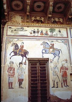 Wall Frescoes, Haveli, Rajasthan, India