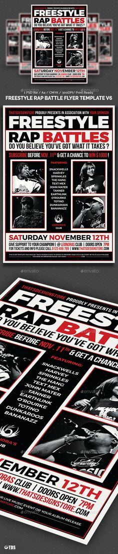 Freestyle Rap Battle Flyer Bundle V1 A4, Photoshop and Flyer - band flyer template