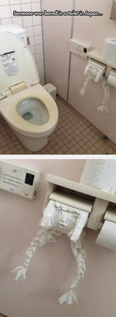 Toilet paper art in Japan