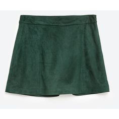 Zara Faux Suede Culottes (180 DKK) ❤ liked on Polyvore featuring pants, capris, dark bottle green, zara pants, faux suede pants, green pants and zara trousers