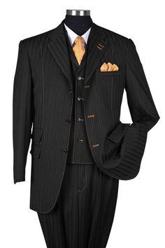 SKU New Men's 3 Piece Elegant and Classic Stripe ~ Pinstripe Suit Black Sharp Dressed Man, Well Dressed Men, Dress Suits, Men Dress, Pinstripe Suit, Mens Fashion Suits, Fashion Moda, Black Suits, Suit And Tie