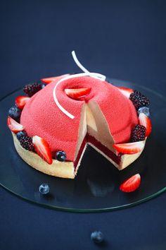 """Rojo"" - Honeysuckle, Milk Chocolate and Coconut Entremet Cak Creative Desserts, Fancy Desserts, Sweet Desserts, Delicious Desserts, Cupcakes, Cupcake Cakes, Bakery Recipes, Gourmet Recipes, Zumbo Desserts"