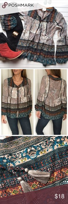"Knox Rose Peasant Blouse Knox Rose Peasant Blouse | size XS (but fits S/M too); polyester . Paisley patchwork blouse with v-notch & tassel ties at neck | princess sleeves with gathering and elastic at wrist | looser, flowy bodice that looks great with skinny jeans & boots! . NWT . 18.5"" UA to UA 25.5"" sleeve 26.5"" length Knox Rose Tops Blouses"
