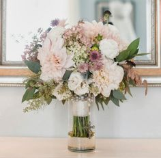 Heavenly blush tones and Cafe Au Lait dahlias for a sophisticated, subtle palette for the summer bride from Sebesta Design.