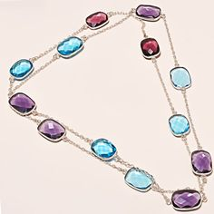 FABULOUS FACETED AMETHYST & SWISS BLUE TOPAZ AMAZING .925 SILVER NECKLACE #Handmade #Choker