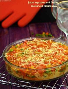 Baked Vegetables with Creamy Coconut and Tomato Sauce recipe, Party Recipes, Entertaining Recipes - Baked Vegetables with Creamy Coconut and Tomato Sauce recipe Davita Recipes, Veg Recipes, Sauce Recipes, Indian Food Recipes, Party Recipes, Cooking Recipes, Cheesy Recipes, Indian Snacks, Gourmet