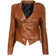 Brown Chain Leather Look Biker Jacket ($45) ❤ liked on Polyvore featuring outerwear, jackets, leather jackets, tops, coats, biker jackets, brown faux leather jacket, moto biker jacket, moto jacket and vegan moto jacket