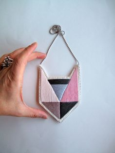 #Colorblock embroidered pendant necklace by #AnAstridEndeavor