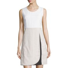 Neiman Marcus Linen Colorblock Sleeveless Dress ($99) ❤ liked on Polyvore featuring dresses, a line wrap skirt, jewel neckline dress, sleeveless colorblock dress, white wrap skirt and neiman marcus dresses