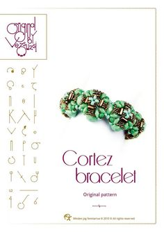 beading pattern Bracelet tutorial / pattern Cortez with Rulla beads ..PDF instruction for personal use only