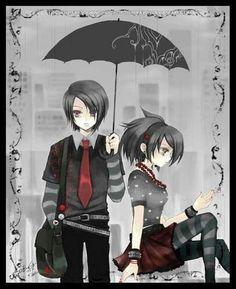 emo kids waiting in the rain photo Animes Emo, Fanarts Anime, Gothic Anime, Gothic Art, Emo Anime Girl, Anime Love, Emo Love Cartoon, Cute Emo Couples, Emo Wallpaper