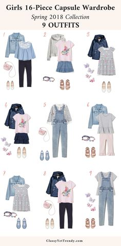 Girls 16-Piece Capsule Wardrobe: Spring 2018 - Transform your daughter's closet with this complete wardrobe plan for the season, which includes 9 outfit ideas. Pieces include a chambray top, tee, pants, leggings, skirt, overalls, jacket, hoodie, sneakers, flats, sandals and accessories.