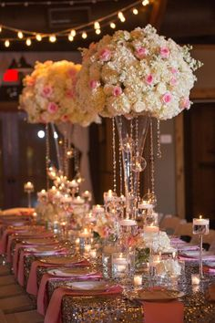 Pink and white flower centerpiece with sequin runner