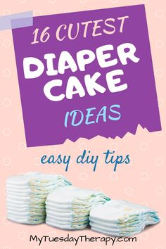 Adorable diaper cake ideas anyone can do. Easy how to make a diaper cake instructions. Be inspired by the unique diaper cake ideas for girls and boys. Gender neutral diaper cake ideas that will blow you away. Small Diaper Cakes, Unique Diaper Cakes, Elephant Diaper Cakes, Diy Diaper Cake, Diaper Cakes Tutorial, Diaper Cake Instructions, Cheap Baby Shower, Simple Baby Shower, Baby Girl Shower Themes