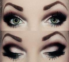 Smoky eye with heavy black dramatic crease eye make up #dramatic