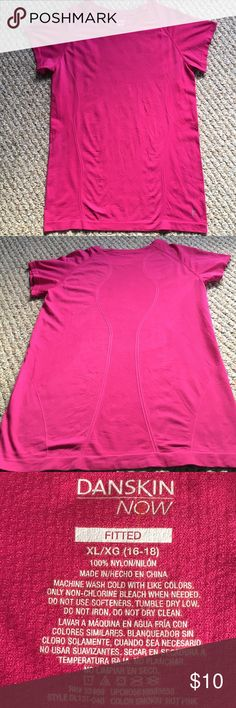 "DANSKIN NOW FITTED CREW NECK ATHLETIC TOP 🌺....GET READY FOR SPRING....DANSKIN NOW ROSE COLORED CREW NECK FITTED ATHLETIC TOP.  STRETCHY 100% NYLON.  ""SMOKIN' HOT PINK"" (LOL) is Danskin's name for this rose color.  Details:  machine wash cold, tumble dry low.  Measurements:  chest 18"" length 26.5"".  Great for every day casual, yoga, excercise, etc...  PERFECT CONDITION!!  Stored in a smoke free home.  *****BUNDLE AND SAVE WITH MY OTHER XL TOPS**** Danskin Now Tops"