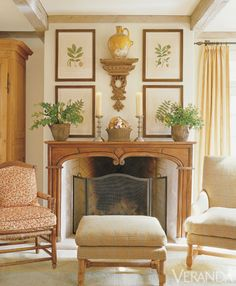 French Country Style Antique French chair in George Smith print. Rose Tarlow-Melrose House chair and ottoman in Colefax and Fowler plaid. French Country Living Room, French Country Style, Country Kitchen, Fireplace Mantle, Fireplace Design, Fireplace Ideas, French Decor, French Country Decorating, Interior Exterior