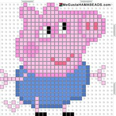 Peppa Pig George Pig hama beads pattern - could be converted to tapestry crochet Hama Beads Design, Hama Beads Patterns, Beading Patterns, Cross Stitching, Cross Stitch Embroidery, Cross Stitch Patterns, Fuse Beads, Pearler Beads, Crochet Chart