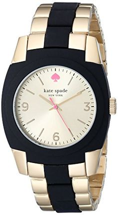 Women's Wrist Watches - kate spade new york Womens 1YRU0161 Skyline GoldPlated Stainless Steel Black Watch >>> You can find more details by visiting the image link.
