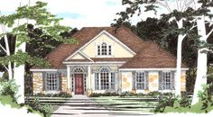 The columned front porch is central to the beautifully detailed exterior theme. Vaulted ceilings are featured in the master suite, family room and breakfast room.