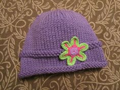 Knitted Baby Hat  Purple Hand Knit Baby Hat with by UpNorthKnits, $24.00