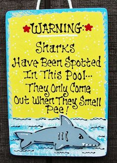 7x11 SHARK Don't Pee In POOL SIGN Deck Tropical Tiki Swimming Plaque Decor Handcrafted Handpainted Hanger