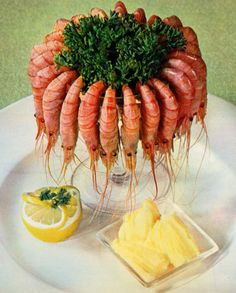 From the French Cooking Hall Of Horrors, desperate shrimp try to escape from the Sea Of Parsley.  (And again, I can hear Kathy screaming all the way from Philadelphia...)