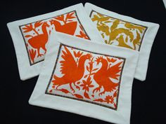 Hand Embroidery Otomi Pillow Bright Orange by EmbroideryCollection, $49.00