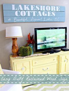 <center>Easy DIY Large Wood Sign for the TV Wall</center> Reclaimed Wood Signs, Reclaimed Wood Projects, Painted Wood Signs, Wooden Signs, Home Crafts, Diy Home Decor, Tv Decor, Cherry Wood Floors, Wood Furniture Living Room