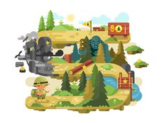 Adventure+on+a+forest+trail+flat+design.+Outdoor+nature+travel+and+summer+tourism,+vector+illustrationVector+files,+fully+editable.