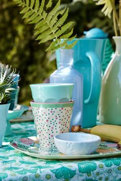 pretty melamine by RICE DK in blues and greens, prints and plains at www.pinksandgreen.co.uk