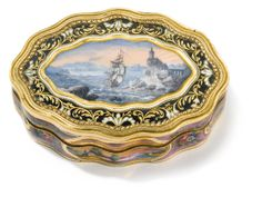 A Swiss enameled gold snuff box for the Turkish market, circa 1830