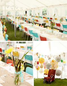 All white lanterns, multi-colorful chairs!