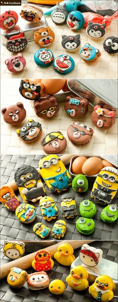 Cartoon Macaroon Macaron Filling, Macaron Flavors, Macarons, Homemade Birthday Cakes, Homemade Cakes, Cartoon Cupcakes, Kawaii Cooking, Macaroon Recipes, French Macaroons