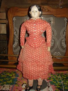 "Beautiful Original 24"" Greiner 1860's papier mache antique doll"
