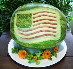 Patriotic Fruit carving out of a watermelon.