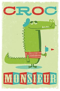 and another C, for Crocodile asking for a Croc Monsieur. Teaching French, Retro Design, Graphic Design, France, Graphic Illustration, Professor, Crocs, Character Design, 3d Character