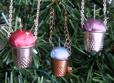 Seeing Things: Mad Hatter's Thimble Pin-Cushion Ornaments