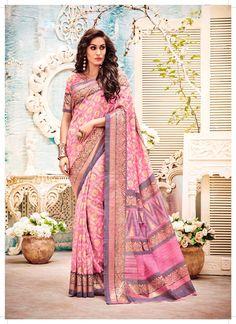 Light Pink #Kashida #Silk #Designer #Saree With #Blouse #nikvik  #usa #designer #australia #canada #freeshipping #sari #print