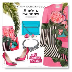 """She's A Rainbow..."" by desert-belle ❤ liked on Polyvore featuring Mary Katrantzou, Manolo Blahnik, women's clothing, women's fashion, women, female, woman, misses, juniors and manoloblahnik"