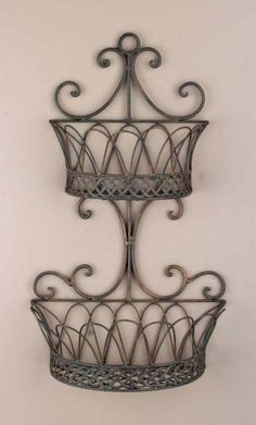 wrought iron wall planters | Wrought Iron Metal Double Wall Baskets Planters | eBay Baskets On Wall, Decor, Wrought Iron Furniture, Metal Wall Decor, Metal, Wrought Iron Decor, Iron Decor, Tuscan Decorating, Iron Wall Decor