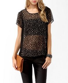 Sheer Spotted Panel Top | FOREVER21 - 2019572431