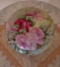 Most Gorgeous Antique Limoges France Large Powder Box Dresser Box Spectacular Roses Ca. 1900