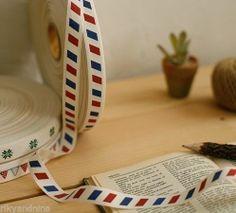 zakka AIRMAIL French Stripe Cotton Ribbon fancy sewing tape ribbon fabric trim